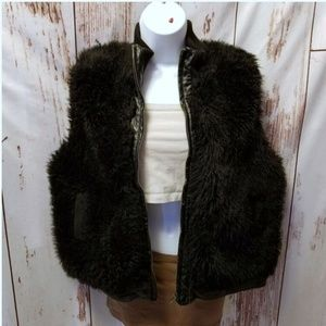 Vintage 80's black faux fur zip up vest jacket L